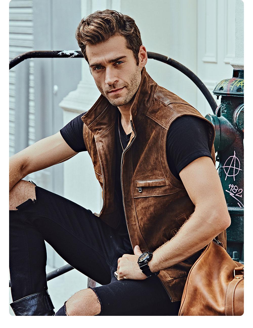 H5233f26cda744ac084bda8f5d92f8a14O Mew Men's Leather Retro Vest Stand Collar Men's Motorcycle Casual Vest