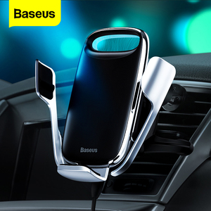 Baseus Car Phone Holder For iPhone 11 Pro Max 15W Qi Wireless Charger For Xiaomi Redmi Note 8 Pro Fast Wireless Charging Holder(China)