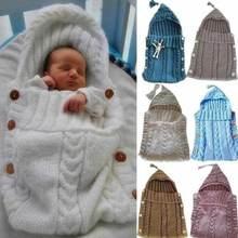 Милый вязаный крючком спальный мешок с капюшоном для новорожденных