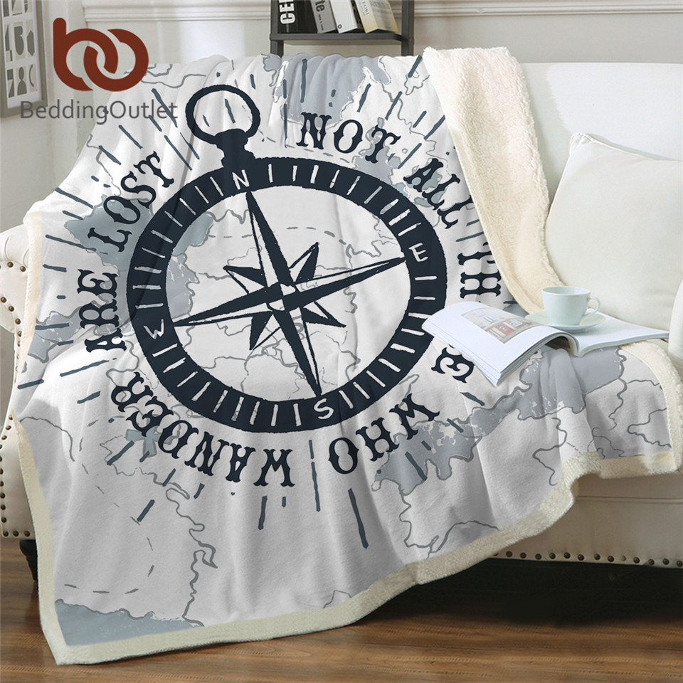 BeddingOutlet Compass Throw Blanket Nautical Map Cool Bedspread Navy Blue White Plush Sherpa Fleece Blanket for Bed Sofa 150x200(China)