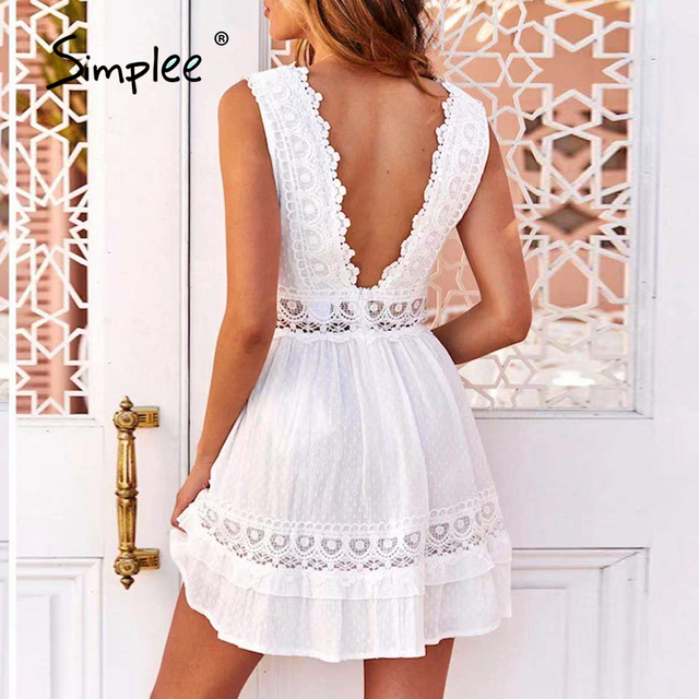 Simplee Sexy V-neck White Stitching Mini Dress Casual Sleeveless Lace Summer Women Beach Dress Backless Embroidered A-line Dress 3