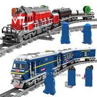 Duży pociąg napędzany silnikiem wysokoprężnym pociąg kolejowy ładunek z torami Model klocki budowlane miasto zestawy Technic Brinquedos cegły zabawki dla dzieci w Klocki od Zabawki i hobby na