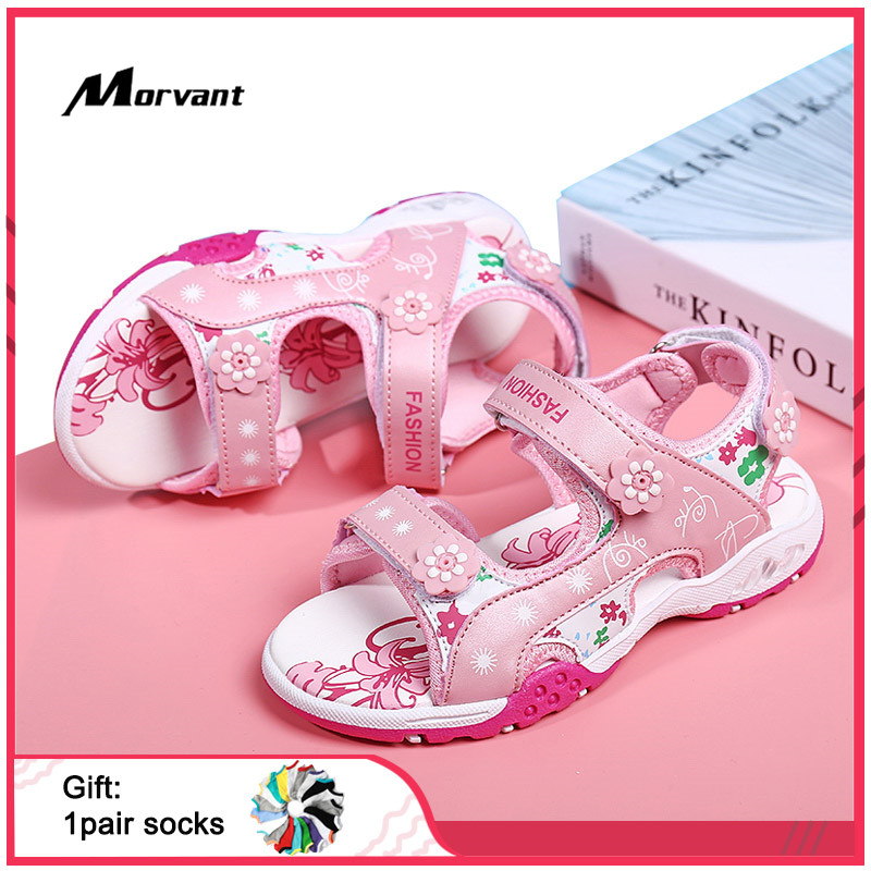 Kids Sandals Summer Girls Beach Sandals Cute Flowers Children's Sandals Soft Comfortable Kids Girl Sandal
