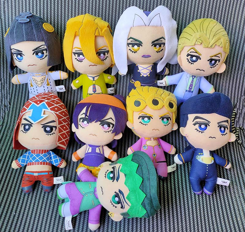 JAPAN JoJos Bizarre Adventure Golden Wind Plush Giorno Narancia Mista Buccellati Abbacchio Fugo Stuffed Plush Toy Doll