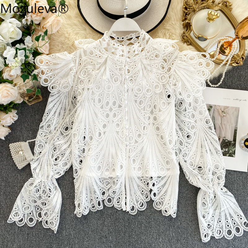 Mozuleva 2020 Spring New Sweet Ruffles Hollow Out Polka Dot Lace Shirt Women Long Flare Sleeve Button Fashion Runway Blouse Top
