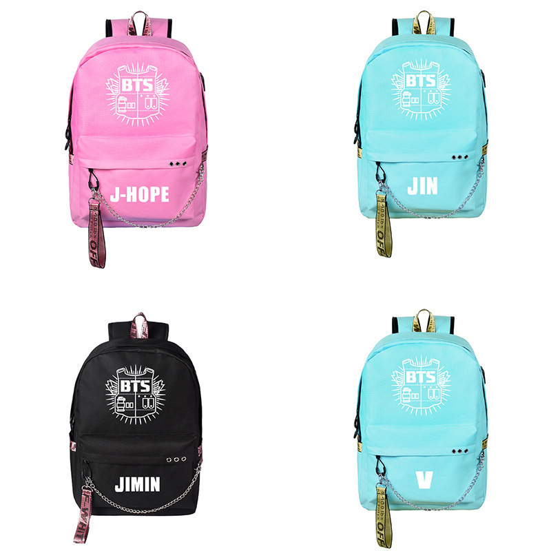 BTS School Bag Related Casual Backpack Korean-style USB Bag For Charging Campus-Style Canvas School Bag