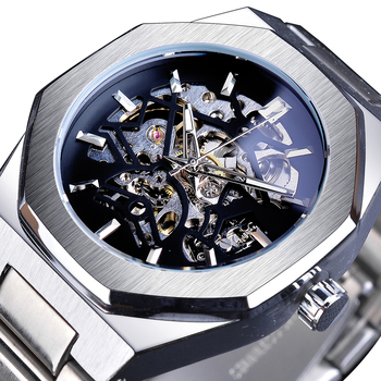 Forsining Silver Mens Watches Top Brand Luxury Automatic Mechanical Stainless Blue Fashion Skeleton Waterproof Business Clock - discount item  22% OFF Men's Watches