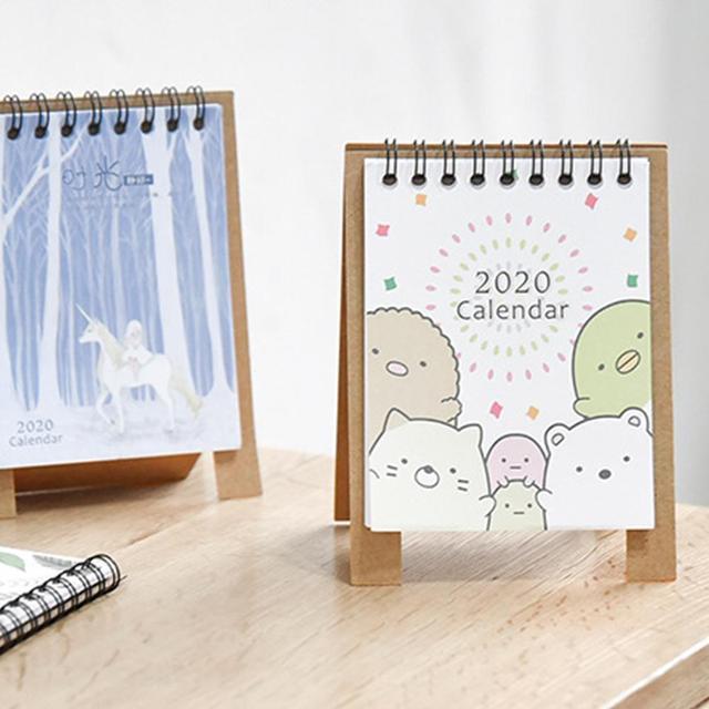 2020 New Year Kawaii Cartoon Table Calendar Mini Table Desk Calendar Agenda Organizer Planner Book 2020 Calendar 2