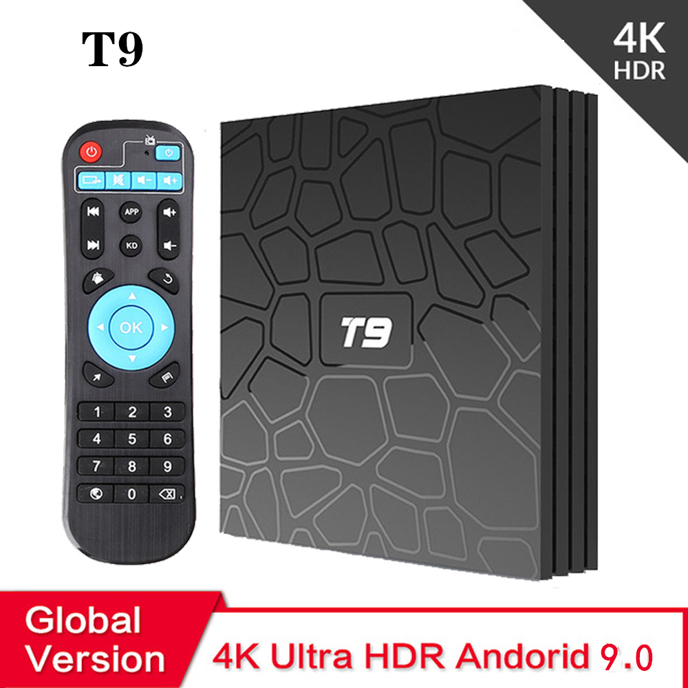 Android TV Box T9 Android 9.0 TV Box 4GB DDR3 RAM 64GB ROM RK3318 Bluetooth 4.2 Support 2.4G&5.0GHz WiFi 4K Set Top Box Smart TV
