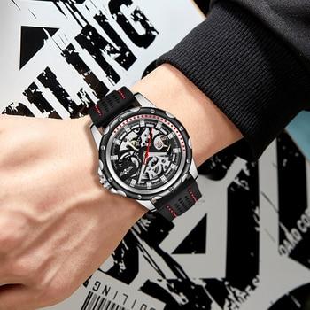 Winner brand 2019 new fashion men automatic mechanical watches luxury brand skeleton luminous hands rubber strap sport clock