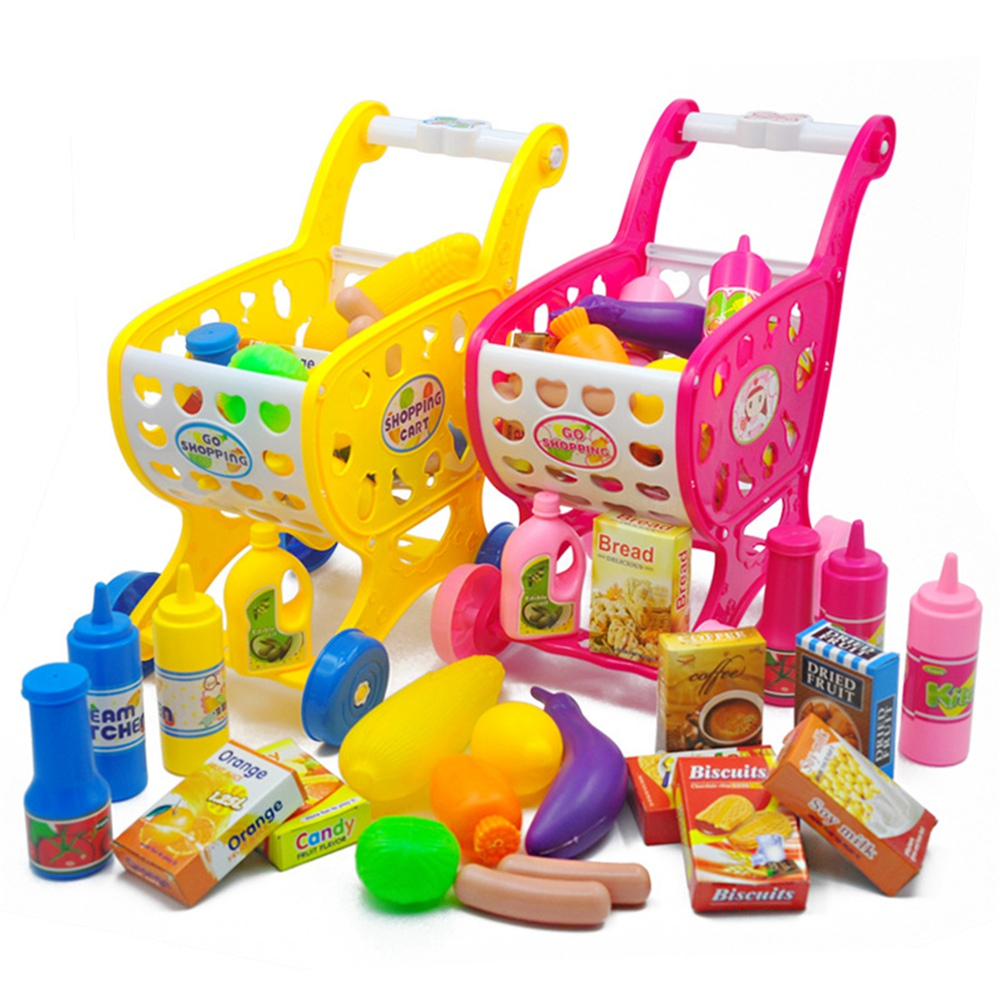 Kids Toy Shopping Cart Kids Supermarket Cart Fruit Vegetable Shop Accessories Pretend Grocery Store Educational Toy for Children