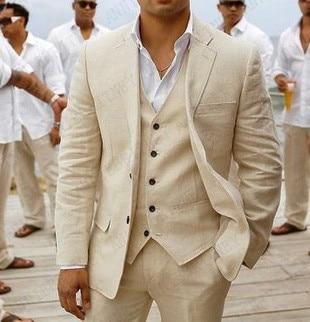 Костюм мужской льняной, бежевый, Свадебный, Повседневный, Блейзер, смокинг для жениха на заказ, пиджак и брюки, костюм для мужчин, 3 предмета, ...