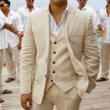 2020 Suit Men Linen Beige Beach Wedding Suits for Men Casual Man Blazer Custom G
