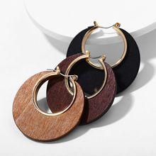 HOCOLE Vintage Wooden Drop Earrings For Women Elegant Handmade Geometric Round Hollow Gold Wood Pendant Dangle Earring Jewelry