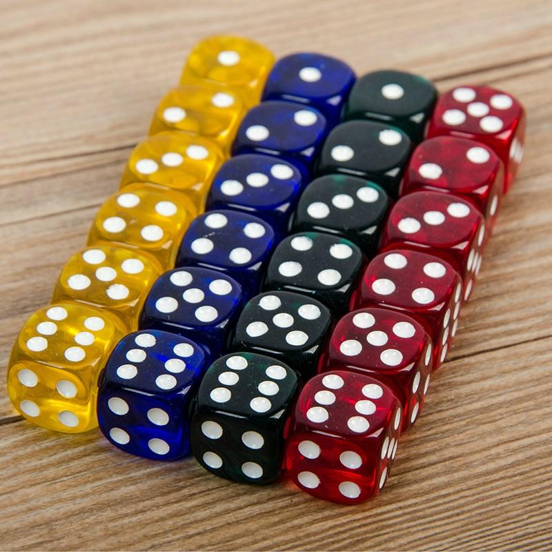 24 peças conjunto 16mm cantos arredondados jogando festa cubos quatro-cor transparente dados (transparente azul, verde, amarelo, vermelho todos os 6)