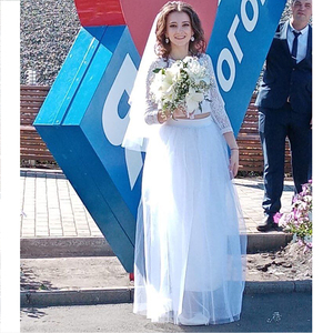 Image 2 - מסיבת רכבת אופנה נשים תחרת נסיכת פיות 4 שכבות 100 cm וואל טול חצאית נפוחה Bouffant אופנה חצאית ארוך טוטו חצאיות
