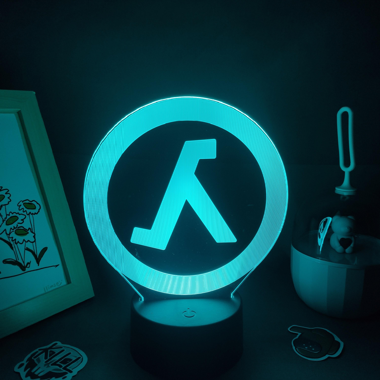 H5235279e2fb8468587a392d6313a4b9dl Luminária Half-life valve da lâmpada fps jogo marca logotipo 3d led rgb luzes da noite presente de aniversário colorido para o amigo lava lâmpada quarto cama mesa decoração