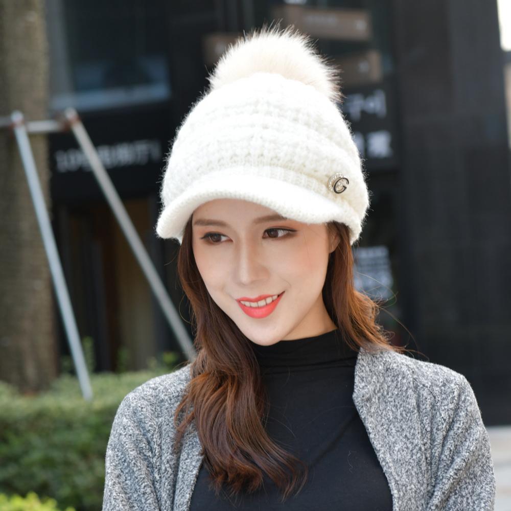 Winter plus velvet thick warm acrylic knit earmuffs wool cap