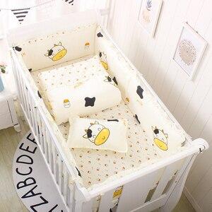 Image 3 - 6 sztuk/zestaw niebieski wszechświat projekt pościel do łóżeczka zestaw bawełna maluch łóżeczko dla dziecka pościel obejmują łóżeczko dla dziecka zderzaki prześcieradło poszewka