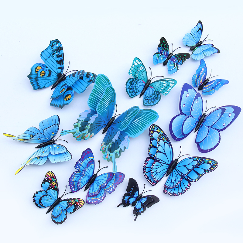 Multicolor 12 PCS Butterfly Fridge Magnets Wall Stickers with Magnet for Wall Decor Art Decor Crafts Home Party Decoration 3D Butterfly Refrigerator Magnets Decor