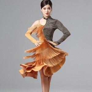 Новый дизайн, платье для латиноамериканских танцев, для выступлений, сексуальное, с одним рукавом, с кисточками, с рыбьими костями, юбка, Профессиональные бальные платья для самбы DL4951