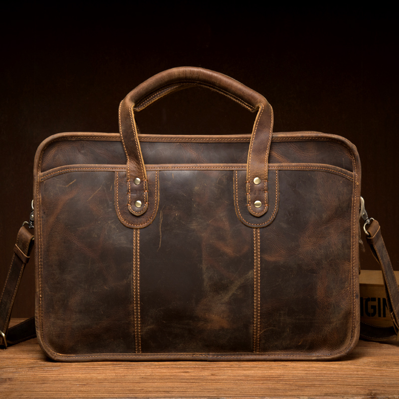 Men's Genuine Leather Briefcases Male Vintage Handmade Large Capacity Business Cowhide Laptop Computer Document Briefcase Bolsa