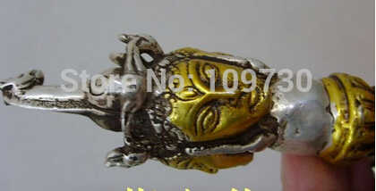 ++++ จัดส่งฟรีทิเบตพุทธ Bronze เคลือบเงินพุทธ Phurpa ทิเบต Dorje Phurba รูปปั้น zh007