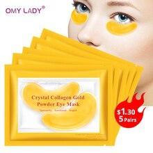 OMY LADY 10 шт. = 5 шт. в упаковке, золотые маски, кристальная коллагеновая маска для глаз, против морщин, патчи для глаз, маска для лица, удаление черных глаз, Уход за глазами