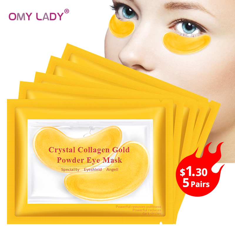 OMY LADY 10pcs=5pack Gold Masks Crystal Collagen Eye Mask Anti-Wrinkle Eye Patches For The Eye Face Mask Remove Black Eye Care(China)