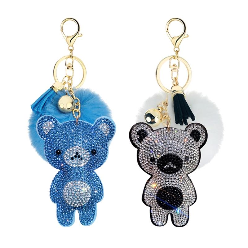 2020 New Korean Velvet Rhinestone Cute Bear Fur Ball Key Ring Pendant Pompon Jewelry Bag Hanging Accessories