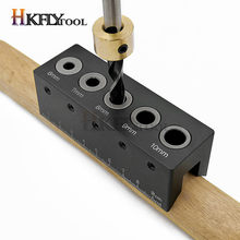 Wood Doweling Jig Straight Angle Guide Pocket Hole Jig Kit Aluminum Alloy Hole Drill Guide Locator Carpentry Woodworking tool(China)