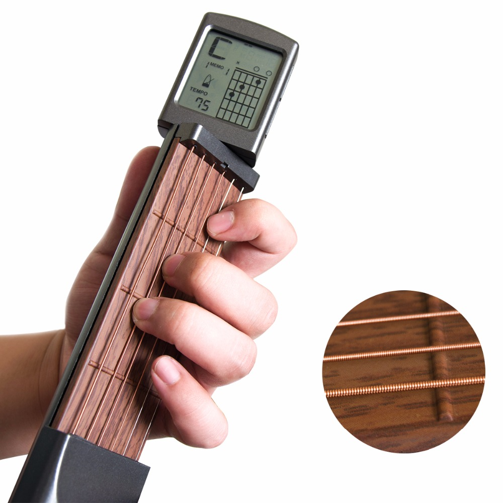 Portable 6-Tone Pocket Guitar Chord Trainer Practice Tool Can Rotate Chord Diagram Screen Guitar Finger Trainer For Beginners