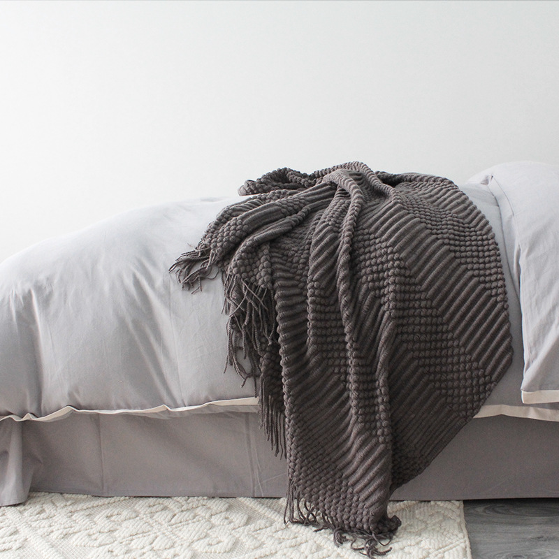 Europe Plaid Knit Air Conditioner Cover Nap blanket Comfortable warm tassel Nordic solid color Blankets for Beds Sofa black gray-3