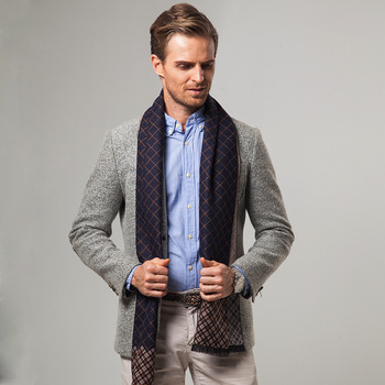 Autumn and winter middle-aged and elderly men's scarf ethnic classic plaid casual warm business thickening long men's scarf electric moxa knee pads autumn and winter to keep warm old cold legs men women moxibustion joint inflammation middle aged