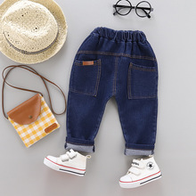 2019 children childrens wear new pants male baby boy label jeans in the spring and autumn outfit panty