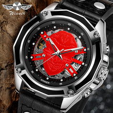 WINNER Skull Watch Men Genuine Leather Auto Mechanical Watches Luminous Hands Skeleton Wristwatch Top Brand Luxury Mens Watch(China)