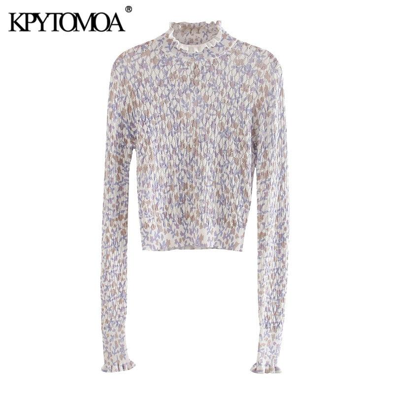 Женский вязаный свитер KPYTOMOA, винтажный пуловер с высоким воротником и длинным рукавом, модные топы 2020| |   | АлиЭкспресс