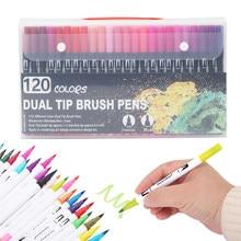 120 cores fineliner ponta dupla escova caneta feltro-ponta caneta desenho pintura aquarela arte marcador canetas para artigos de papelaria da escola suprimentos