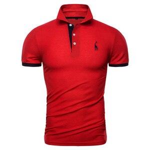 Image 5 - Dropshipping 13 cores marca qualidade polos algodão bordado polo girafa camisa masculina casual retalhos masculinos topos roupas