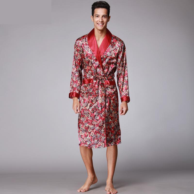Men Kimono Robes V-neck Faux Silk Bathrobes Nightgown for Male Senior Satin Sleepwear Summer Paisley Pattern Pajamas Set