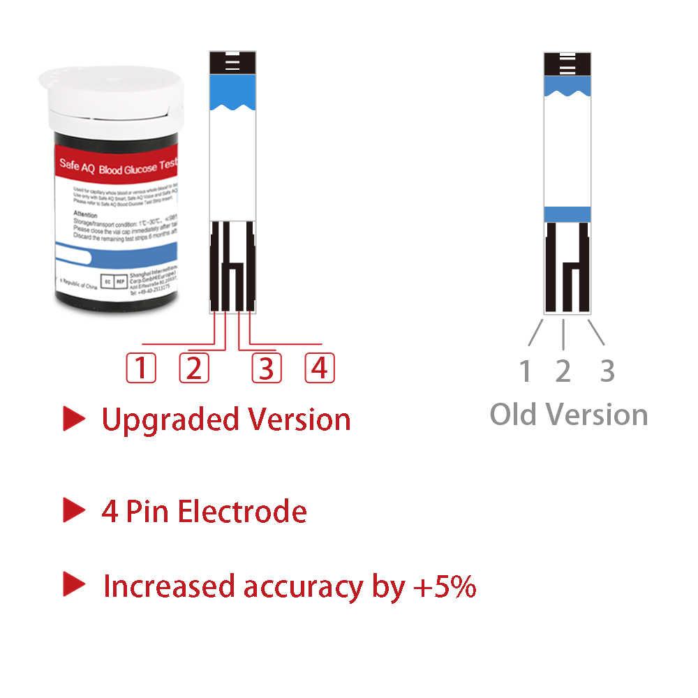 جهاز قياس جلوكوز الدم الذكي مع 50/100 قطعة وشرائط الاختبار وجهاز قياس السكر في الدم لمرضى السكري