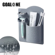 GOALONE Silicone Toothbrush Holder Wall Mount Waterproof Razor Removable Reusable Bathroom Shower Accessories