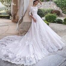 Adoly Mey Drie Kwart Mouw Applicaties Kapel Trein A lijn Trouwjurken 2020 Elegant Hals Lace Up Vintage Bruidsjurk