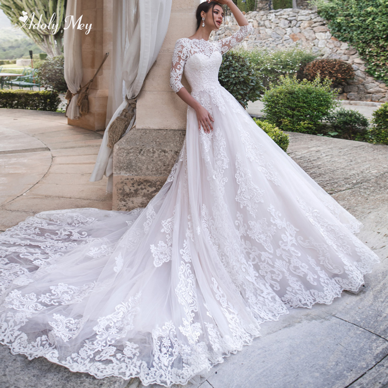 Adoly Mey Three Quarter Sleeve Appliques Chapel Train A-Line Wedding Dresses 2020 Elegant Scoop Neck Lace Up Vintage Bridal Gown