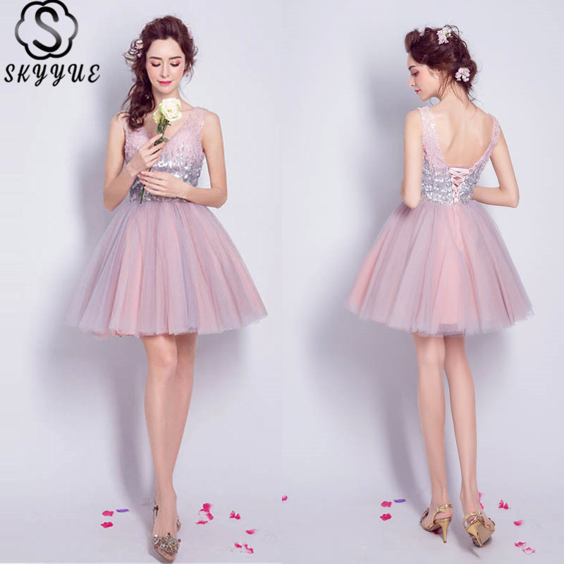 Skyyue Cocktail Dresses Sequin Sexy V-Neck Mini Party Short Dress Sleeveless Robe Cocktail Above Knee Fromal Gowns 2019 LX825