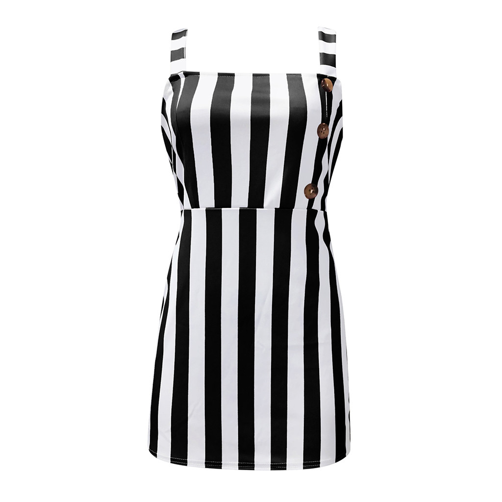 vestido de mujer Women Vintage Vertical Striped Mini Sexy Button Cami Spring and Summer Dresses femme