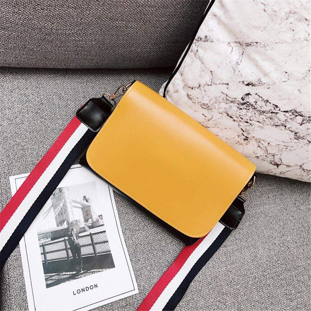 HELLOVE Women Fashion Shoulder Stylish Crossbody Bag Messager Handbag Contrast Wide Shoulder Strap PU Leather Wild Trend Female