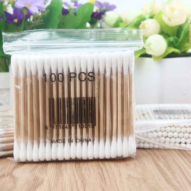 Wooden Handle Disposable Cotton Swabs Double Head Cotton Buds Cotton Tipped Applicator For Beauty Makeup Nose Ears Cleaning