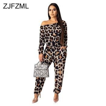 Mono Sexy de camuflaje con estampado de leopardo, mono de fiesta de manga larga con un hombro para mujer, ropa de calle de una pieza de cintura alta, mono largo