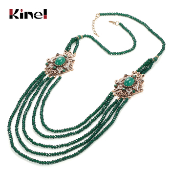 Collar de piedra Natural kinel de lujo antiguo Oro Verde sarta de cuentas de cristal collar de borla para mujer joyería de boda Vintage